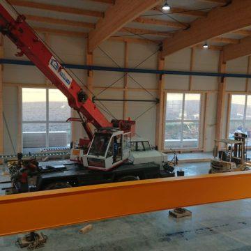Einbau des Hallenkran in unsere neue Abbundhalle