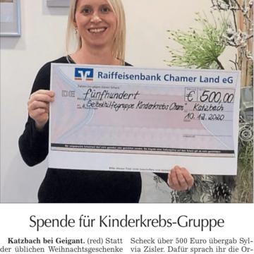 """Zimmerei Holzbau Zisler GmbH spendet 500,00€ an die  """"Selbsthilfegruppe Kinderkrebs in Cham"""""""